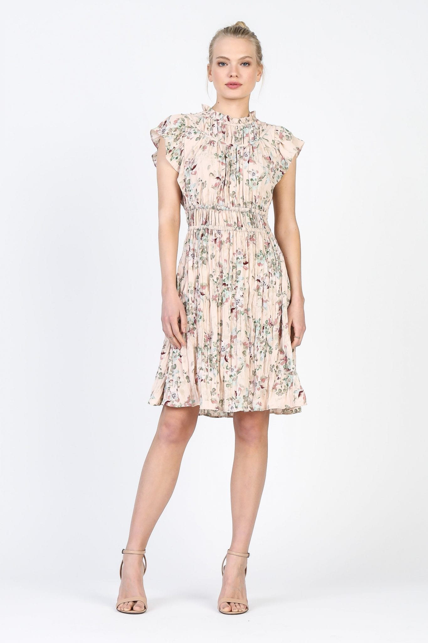 SHOPCURRENTAIR Mock Neck Crinkle Floral Dress