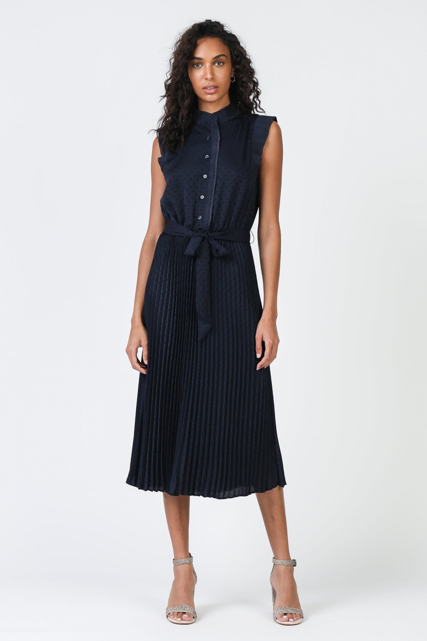 SHOPCURRENTAIR Mock Neck Pleated Dress