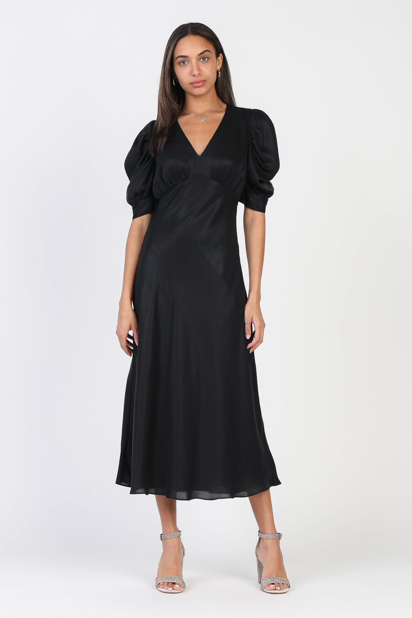 SHOPCURRENTAIR Puff Sleeve Black Midi Dress