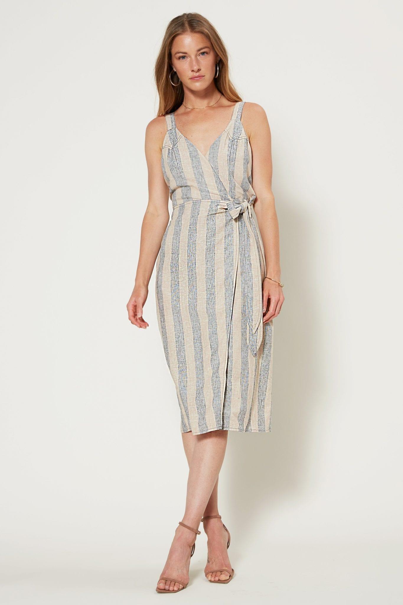 SHOPCURRENTAIR Stripe Linen Midi Wrap Dress
