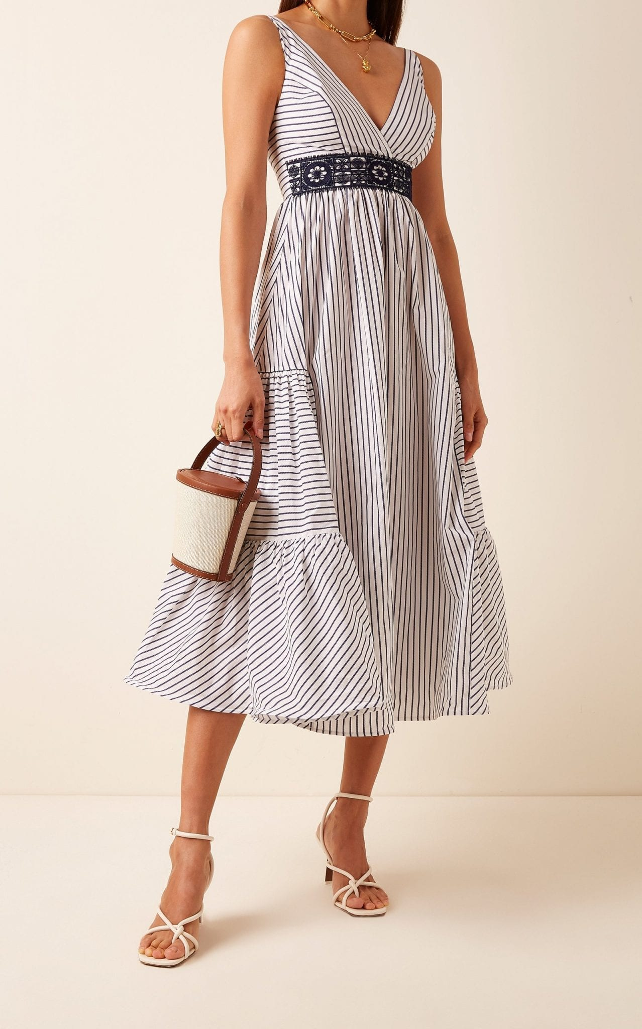 SILVIA TCHERASSI Canazei Striped Cotton Poplin Midi Dress
