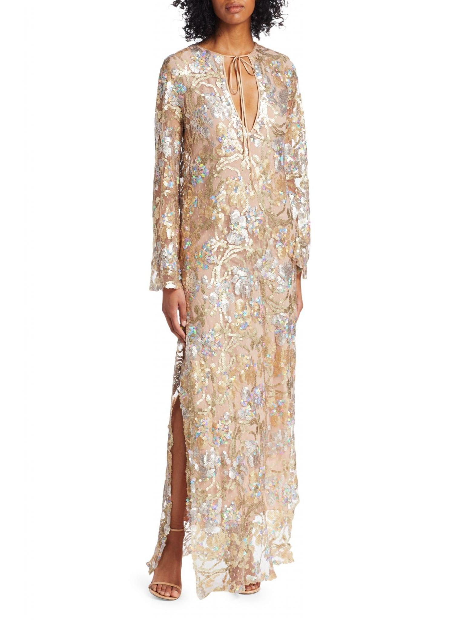 SILVIA TCHERASSI Dogliani Sequin Tunic Gown
