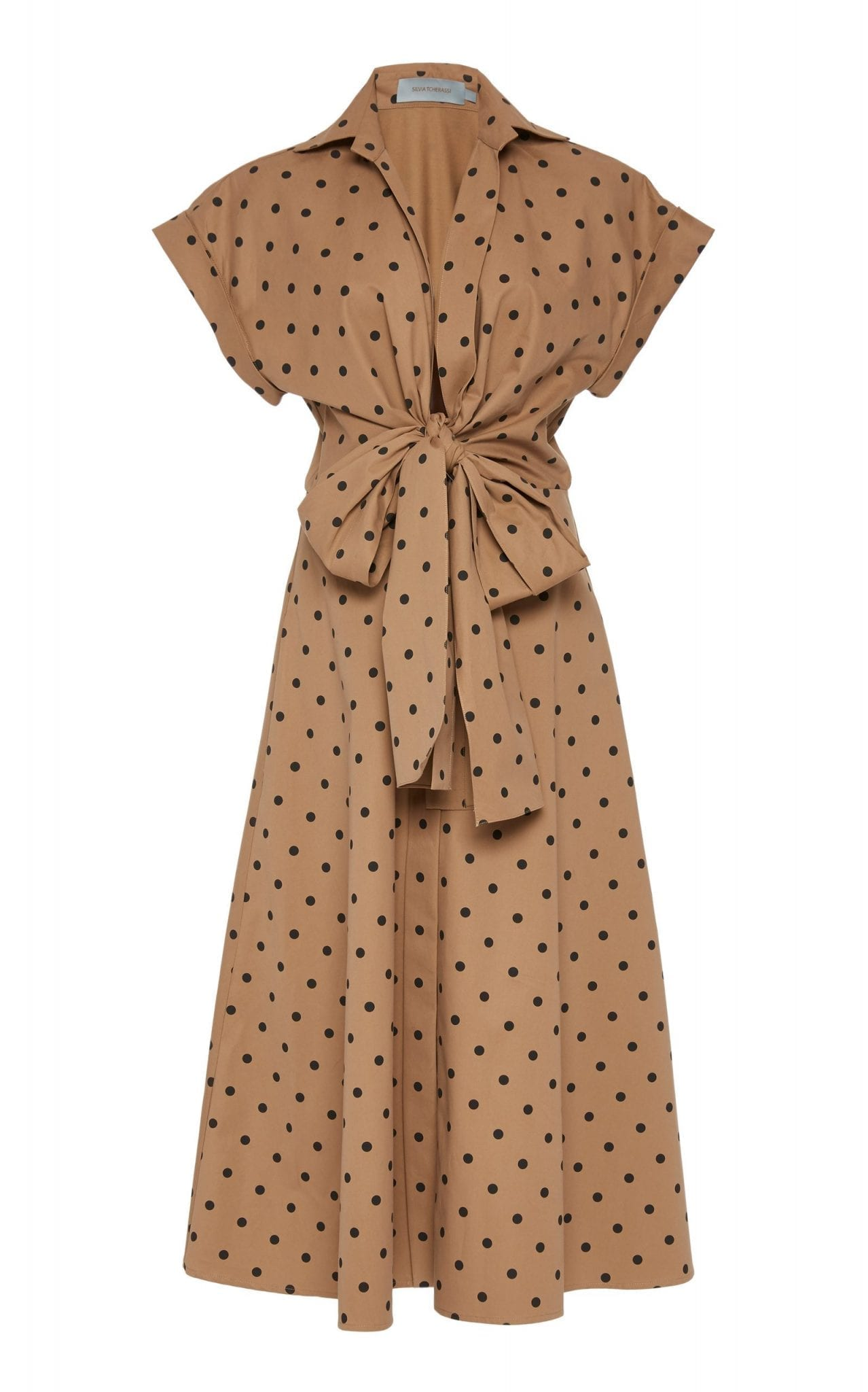 SILVIA TCHERASSI Rigone Belted Polka-Dot Cotton Shirt Dress