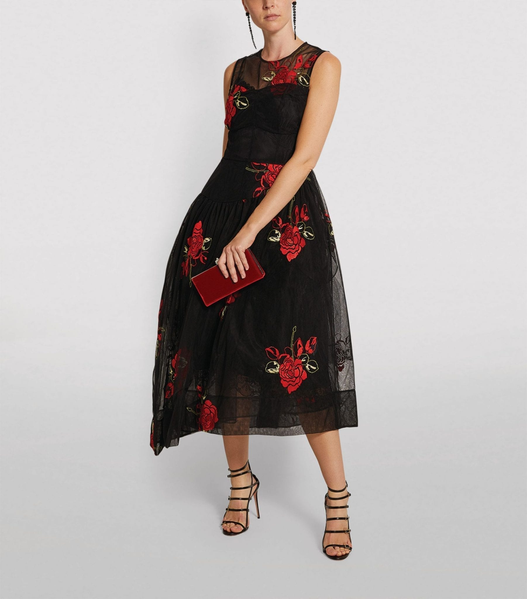 SIMONE ROCHA Embroidered Asymmetric Midi Dress