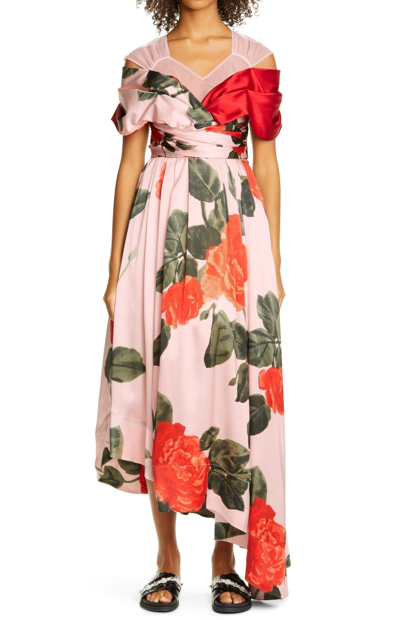 SIMONE ROCHA Floral Asymmetrical Silk Dress
