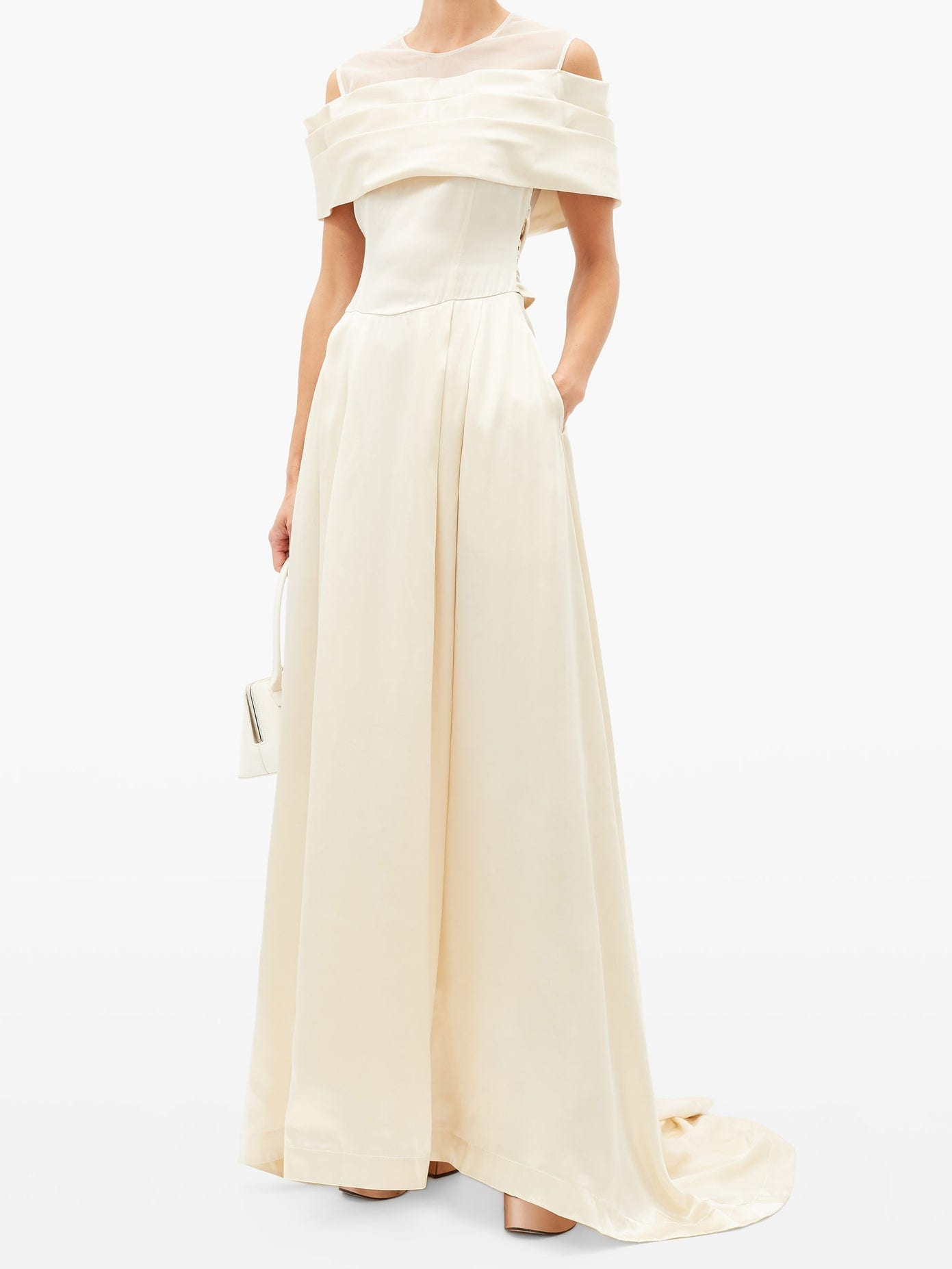 SIMONE ROCHA Off-the-shoulder Silk-satin Gown