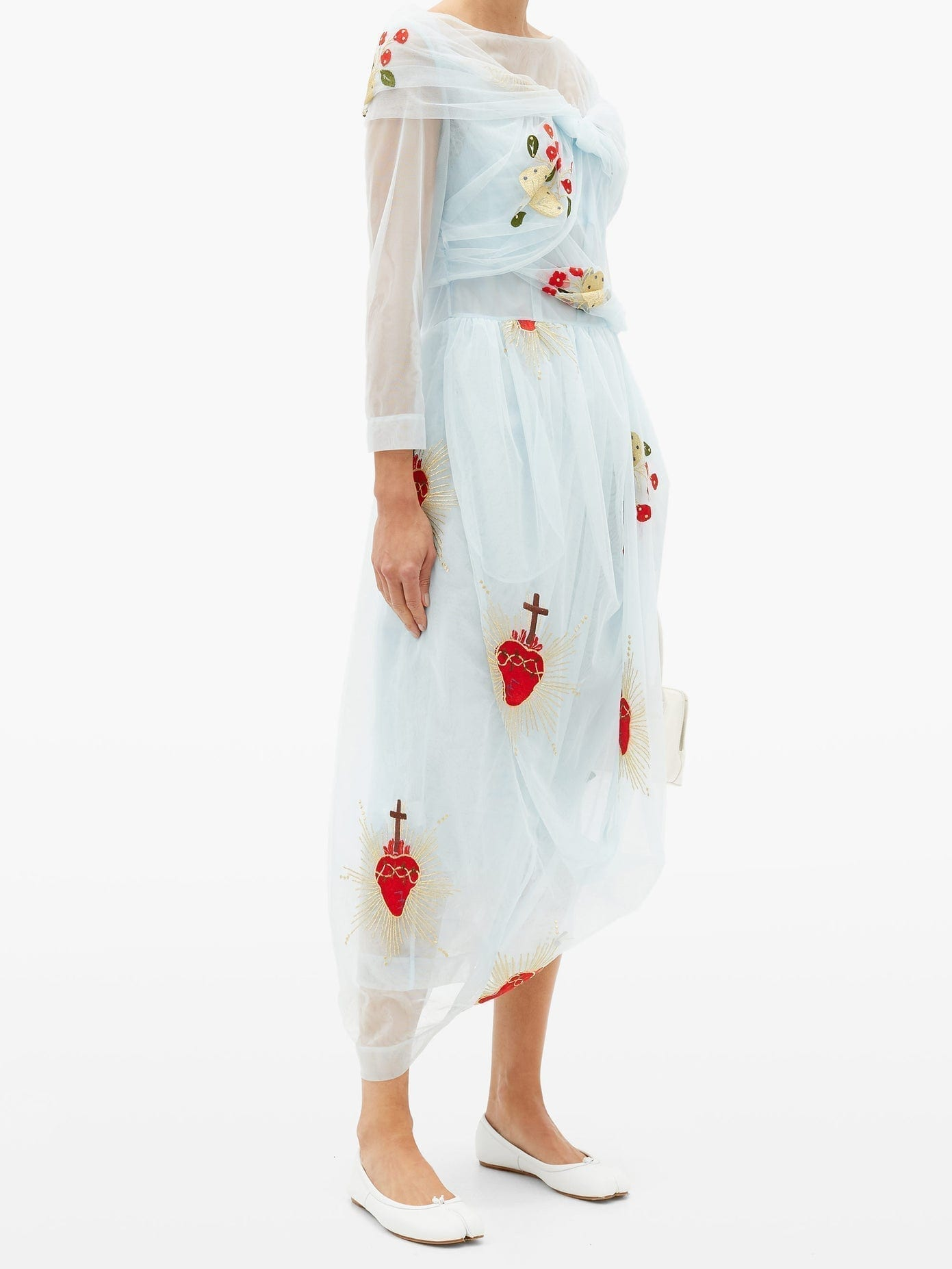 SIMONE ROCHA Sacred Heart-embroidered Draped-tulle Dress