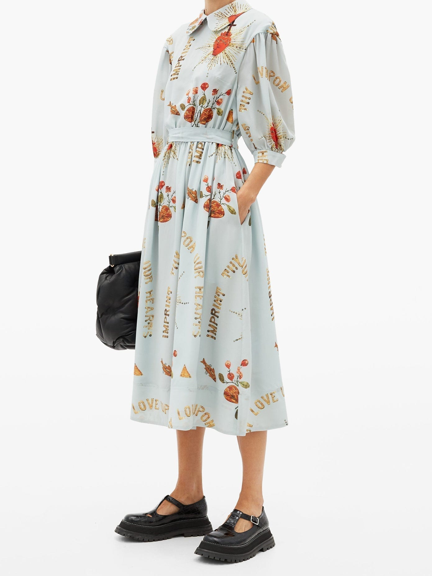 SIMONE ROCHA Sacred Heart-print Round-collar Silk Midi Dress