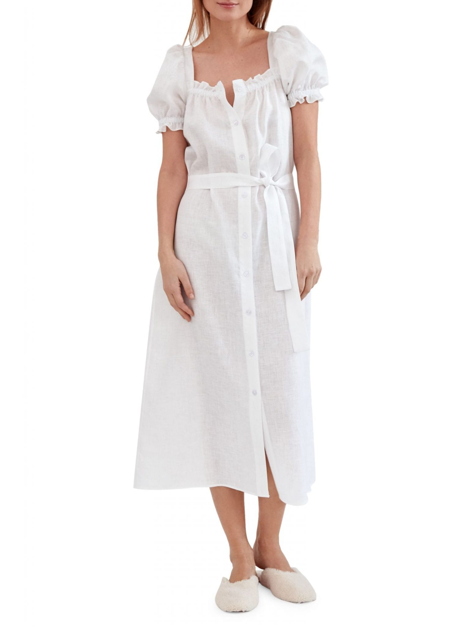 SLEEPER Brigitte Linen Puff-Sleeve Dress