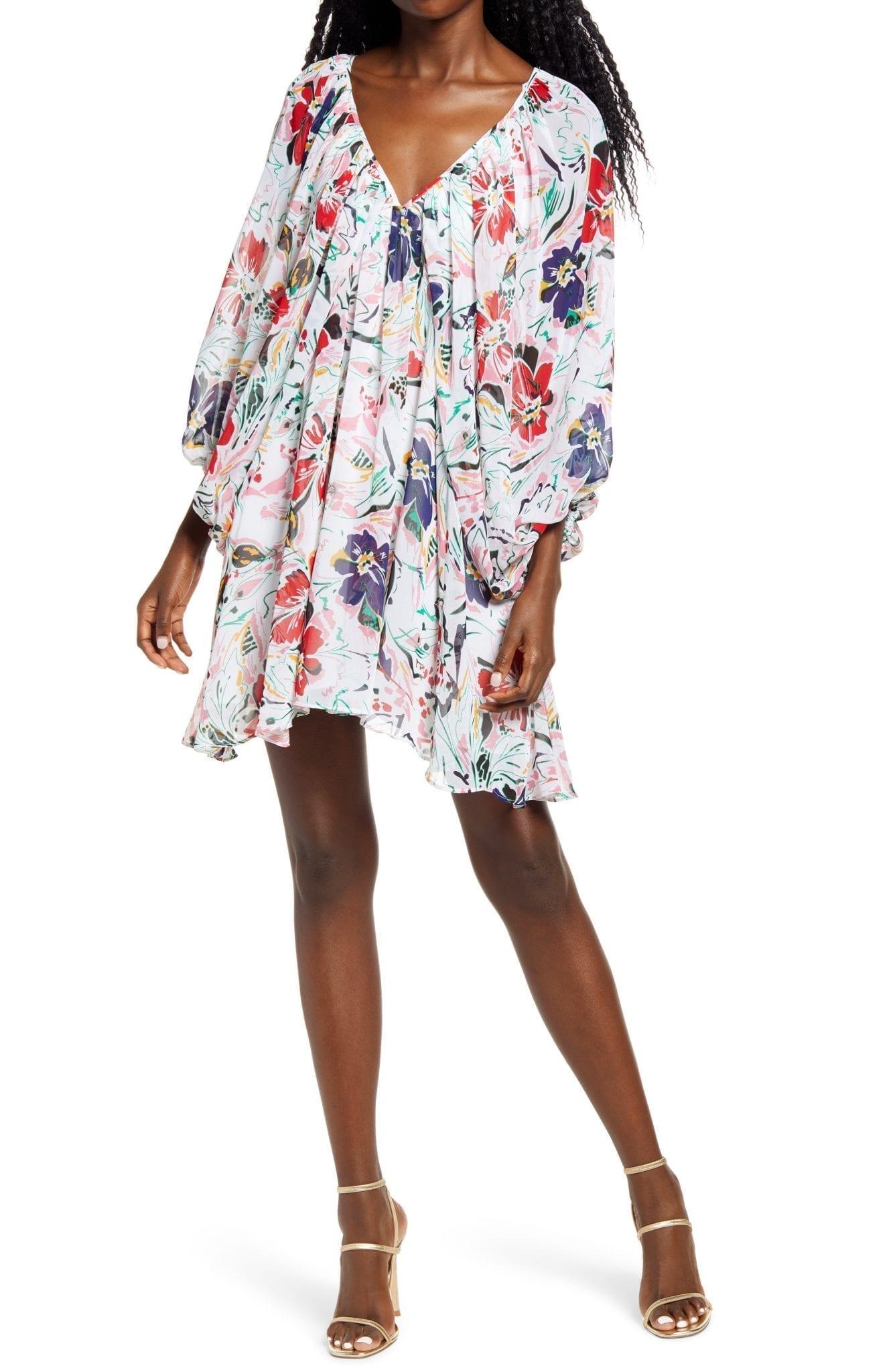 SOCIALITE Floral Print Long Sleeve Mini Dress