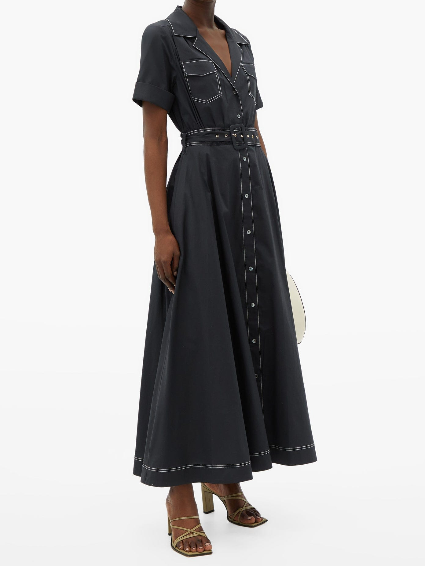 STAUD Millie Belted Cotton-blend Shirt Dress