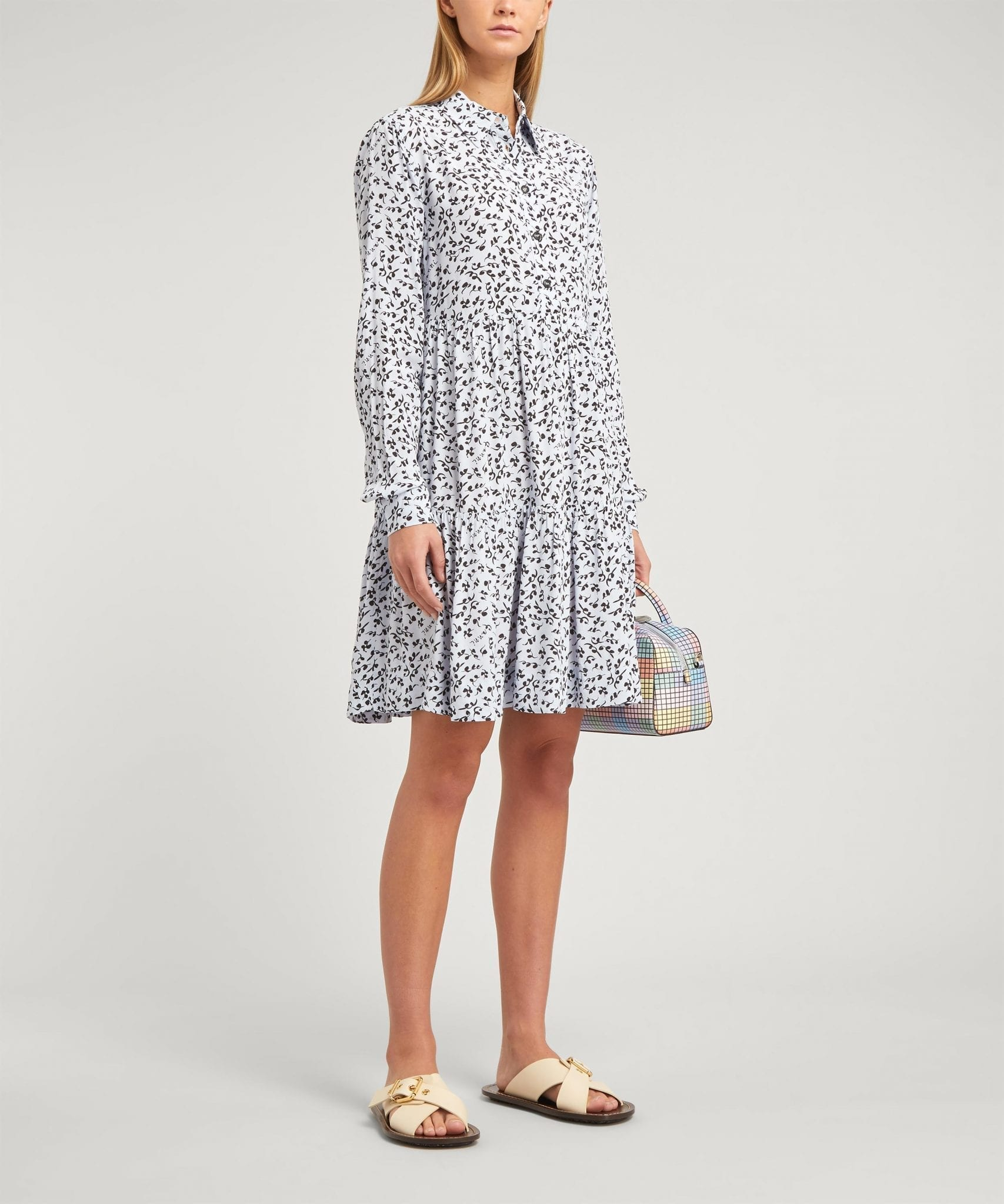 SUSTAINABLE MATERIALS - GANNI Printed Crepe Puff-Sleeve Mini-Dress
