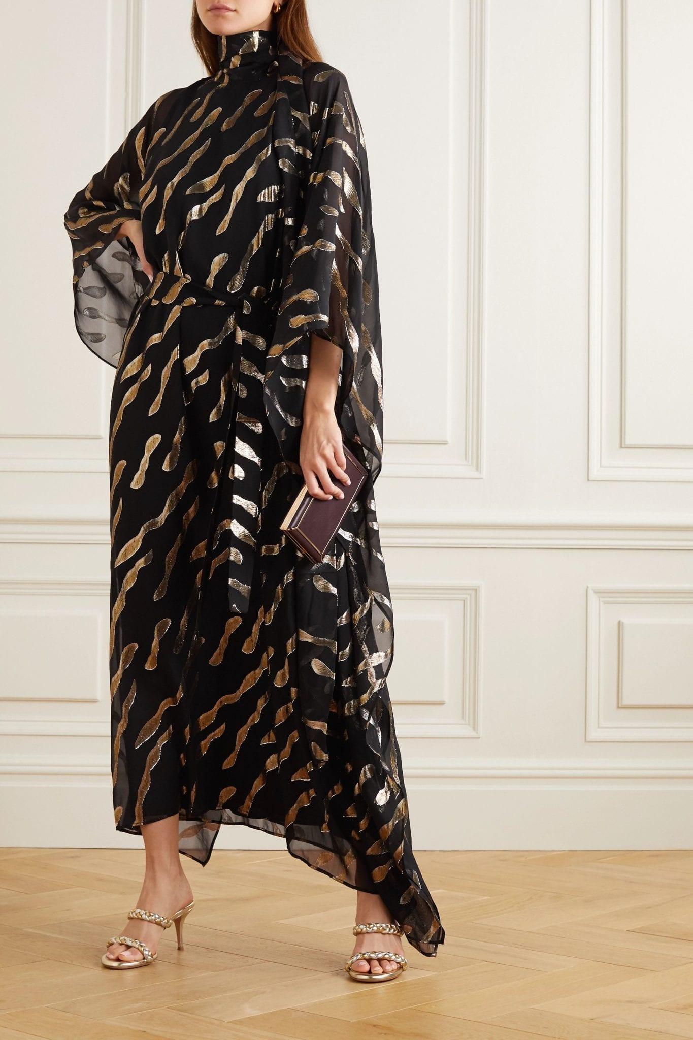 TALLER MARMO Bizet Fil Coupé Silk-blend Chiffon Kaftan Dress