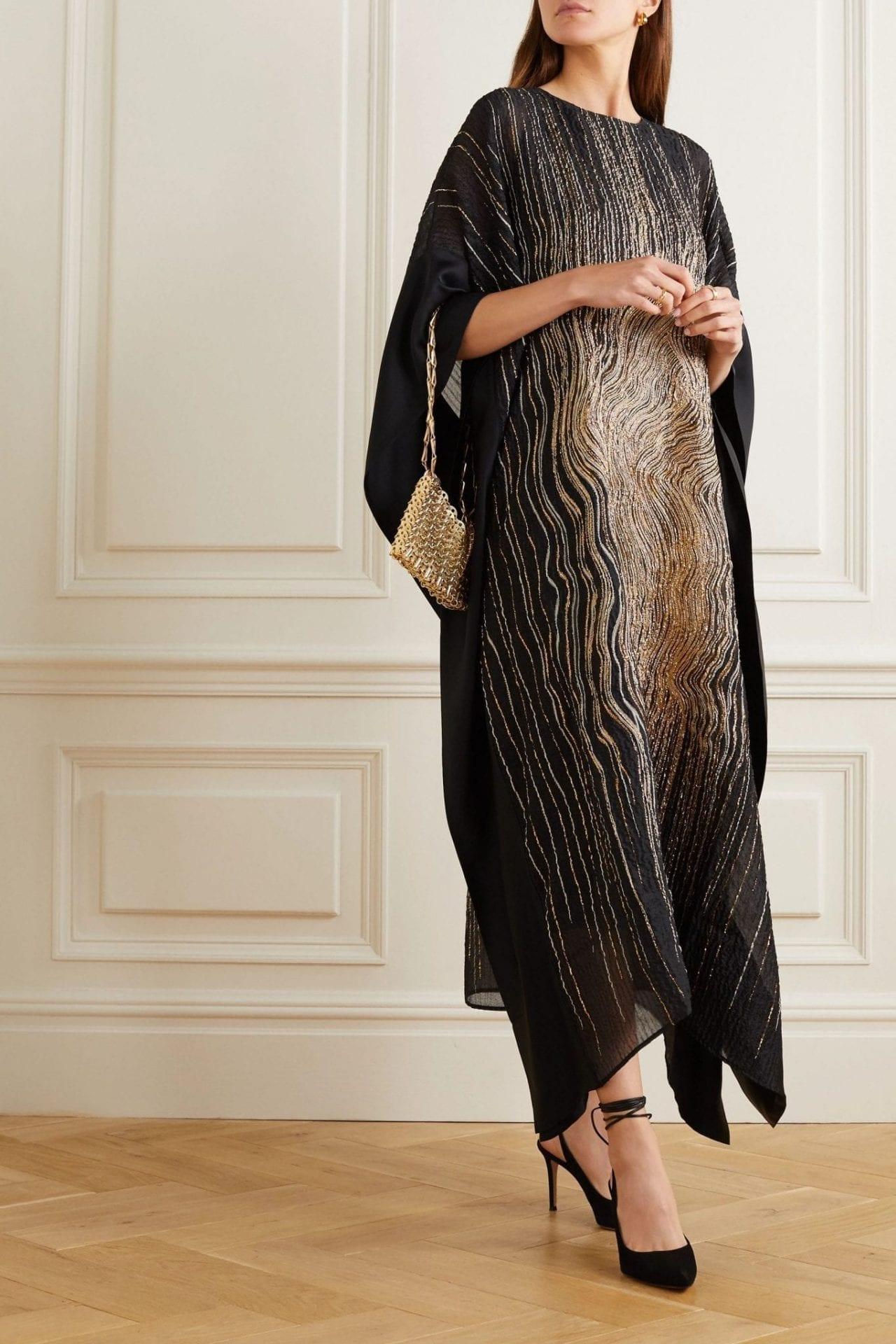 TALLER MARMO Madame Butterfly Metallic Silk-blend Cloqué And Satin Kaftan Dress