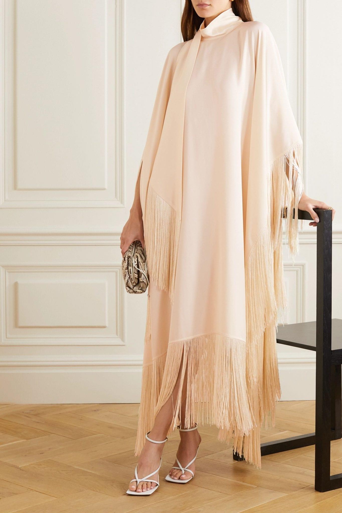 TALLER MARMO Mrs Ross Fringed Crepe Kaftan Dress