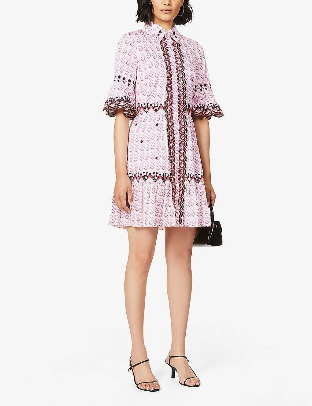 TEMPERLEY LONDON Poet Embroidered And Woven Cotton Mini Dress