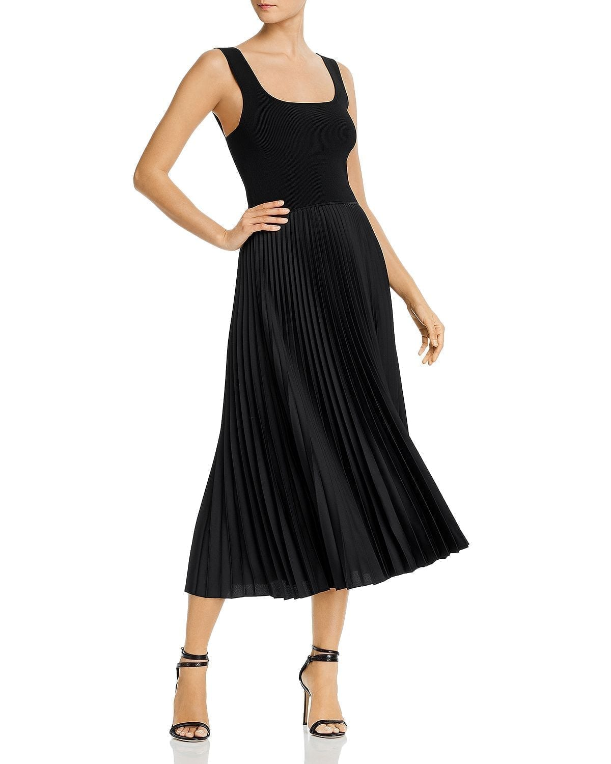 THEORY Pleated Square-Neck Ribbed Midi Dress