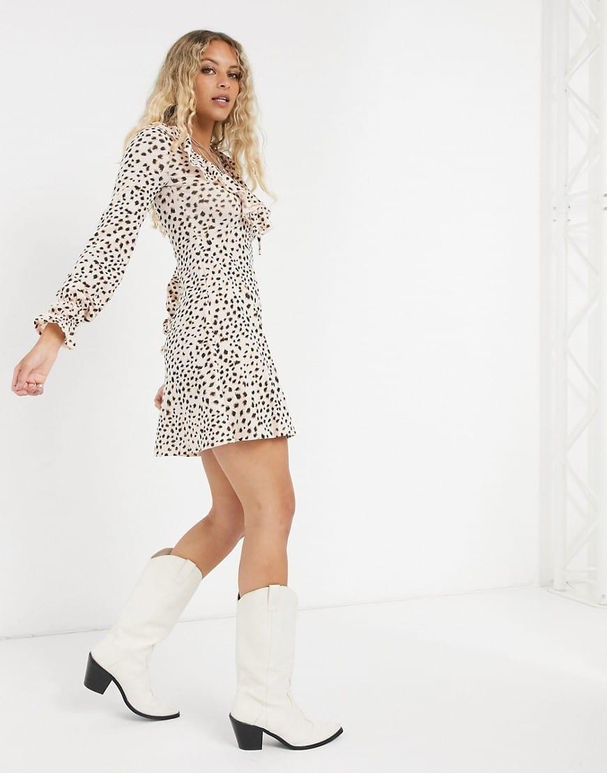 TOPSHOP Ruffle Detail Animal Print Mini Dress