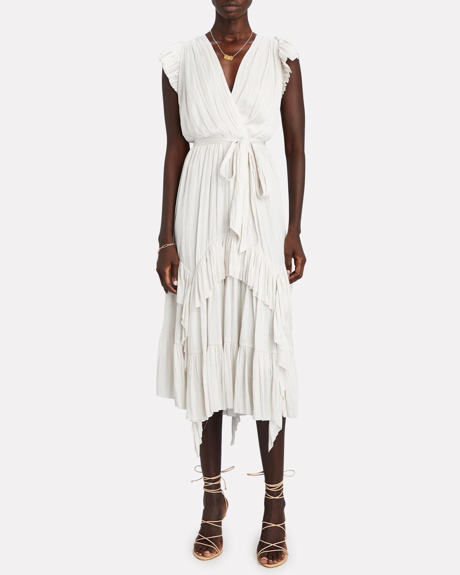 ULLA JOHNSON Abella Pleated Midi Dress