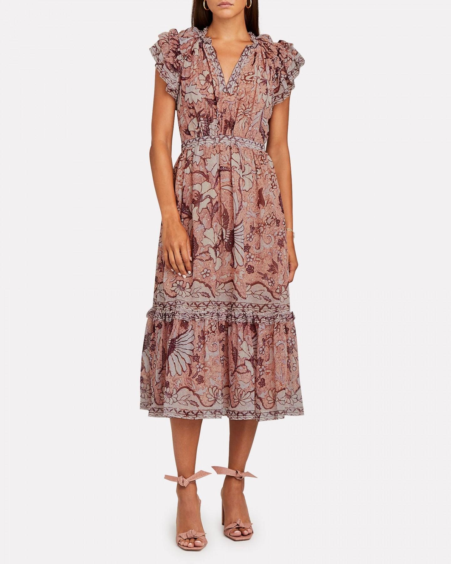 ULLA JOHNSON Celestia Silk Floral Midi Dress