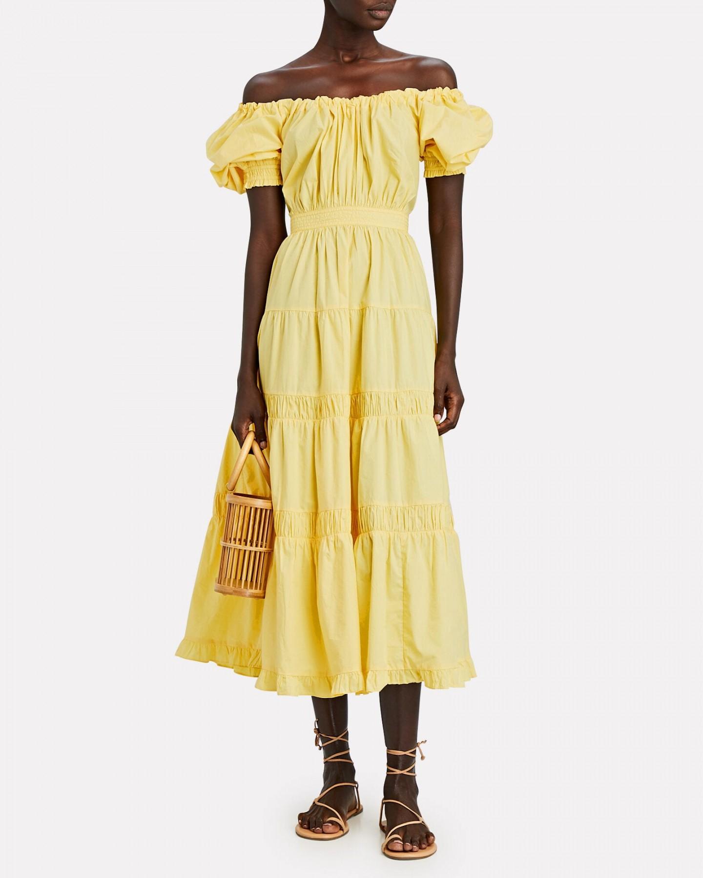 ULLA JOHNSON Colette Tiered Cotton Midi Dress