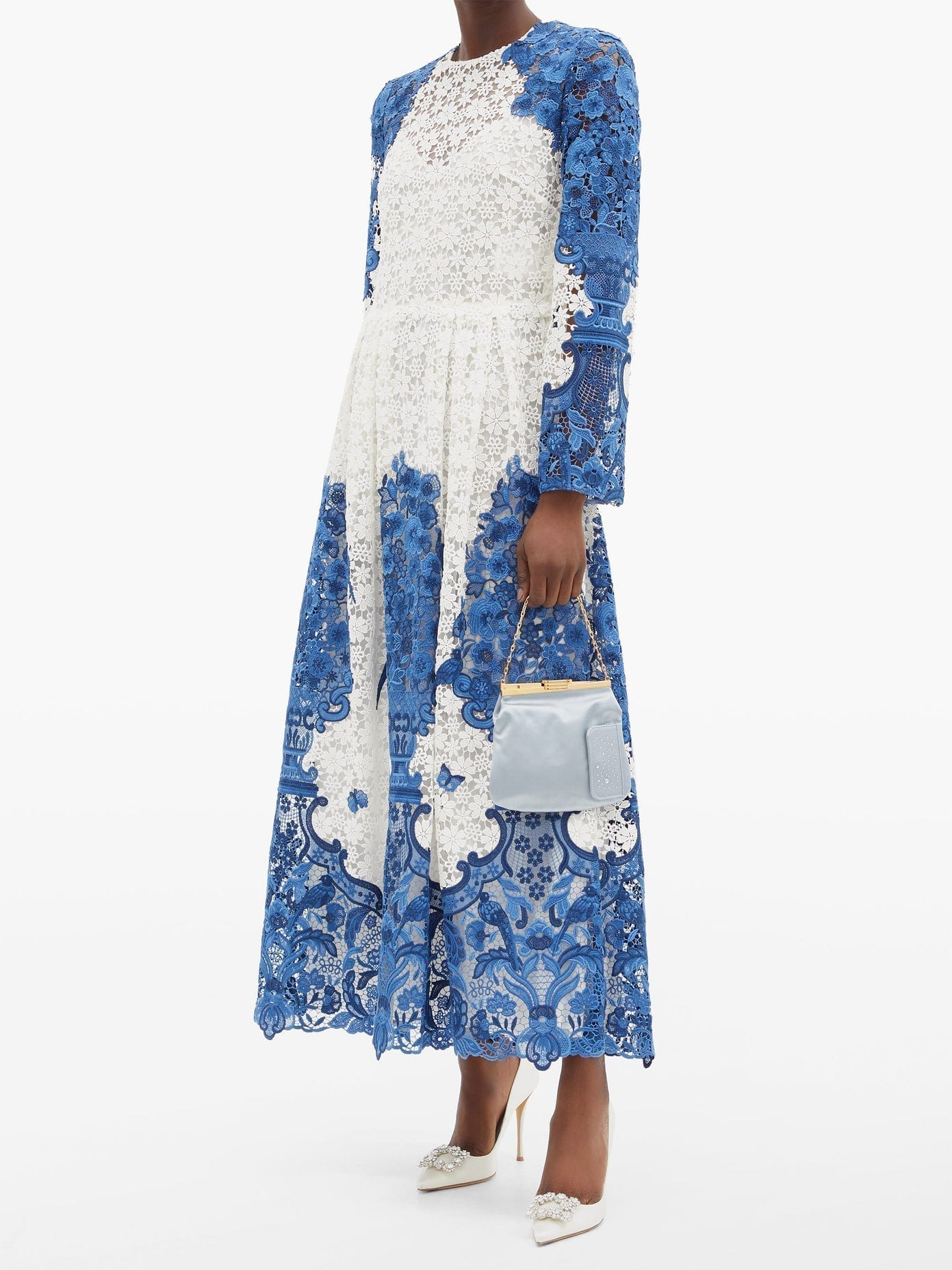 VALENTINO Delf-print Guipure-lace Cotton-blend Midi Dress