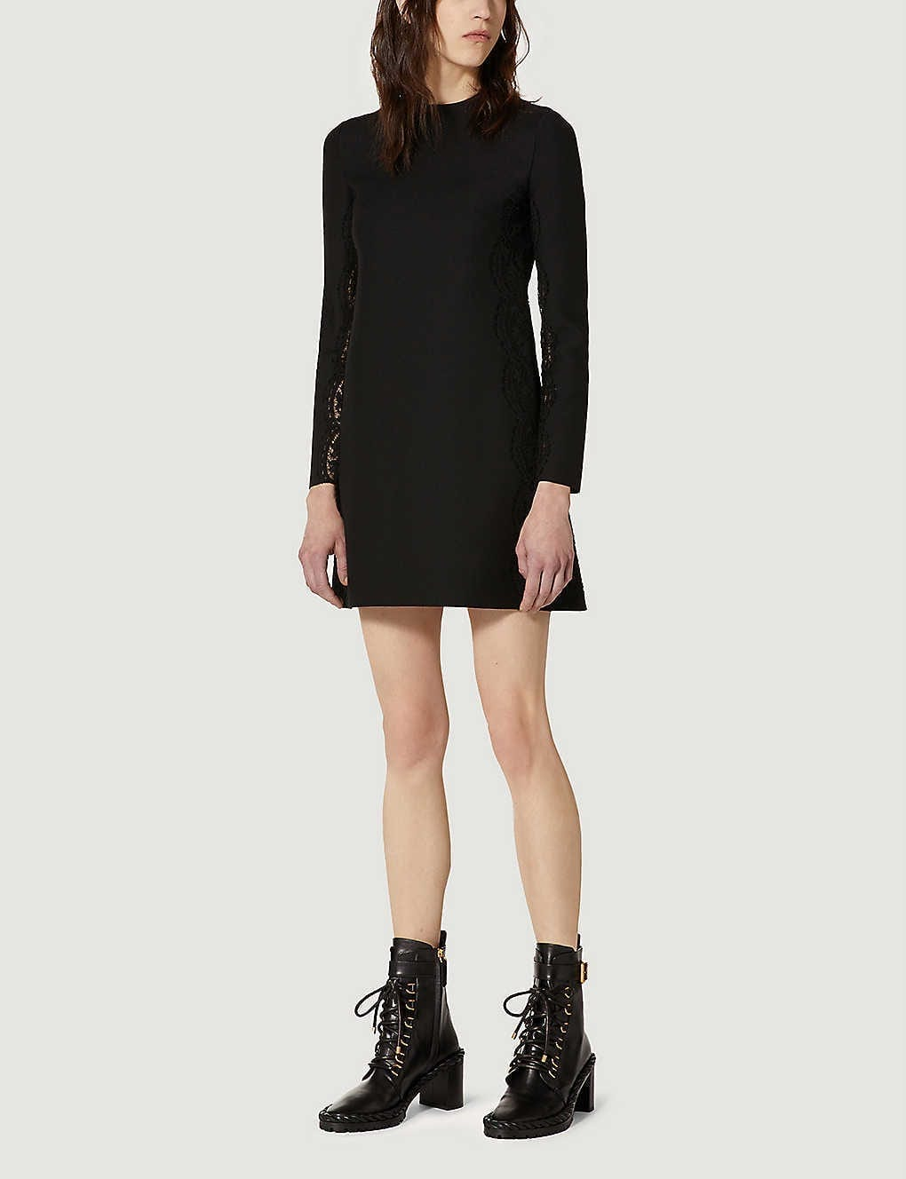 VALENTINO Floral-lace A-line Silk And Wool-blend Mini Dress