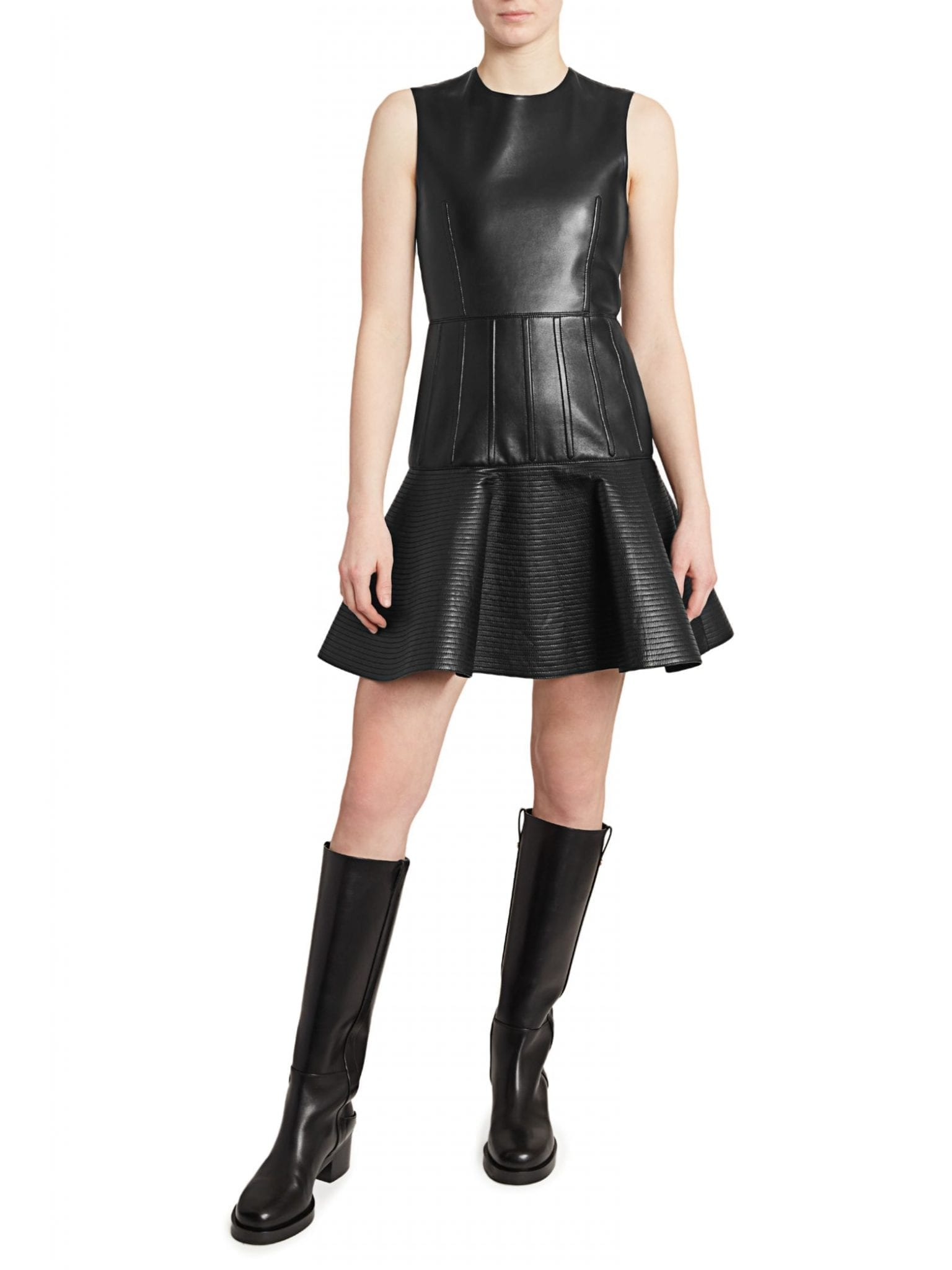 VALENTINO Sleeveless Leather Flutter Dress