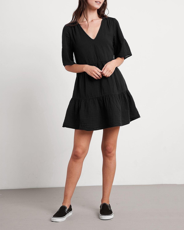 VELVET BY GRAHAM & SPENCER Chesney Cotton Tiered Mini Dress