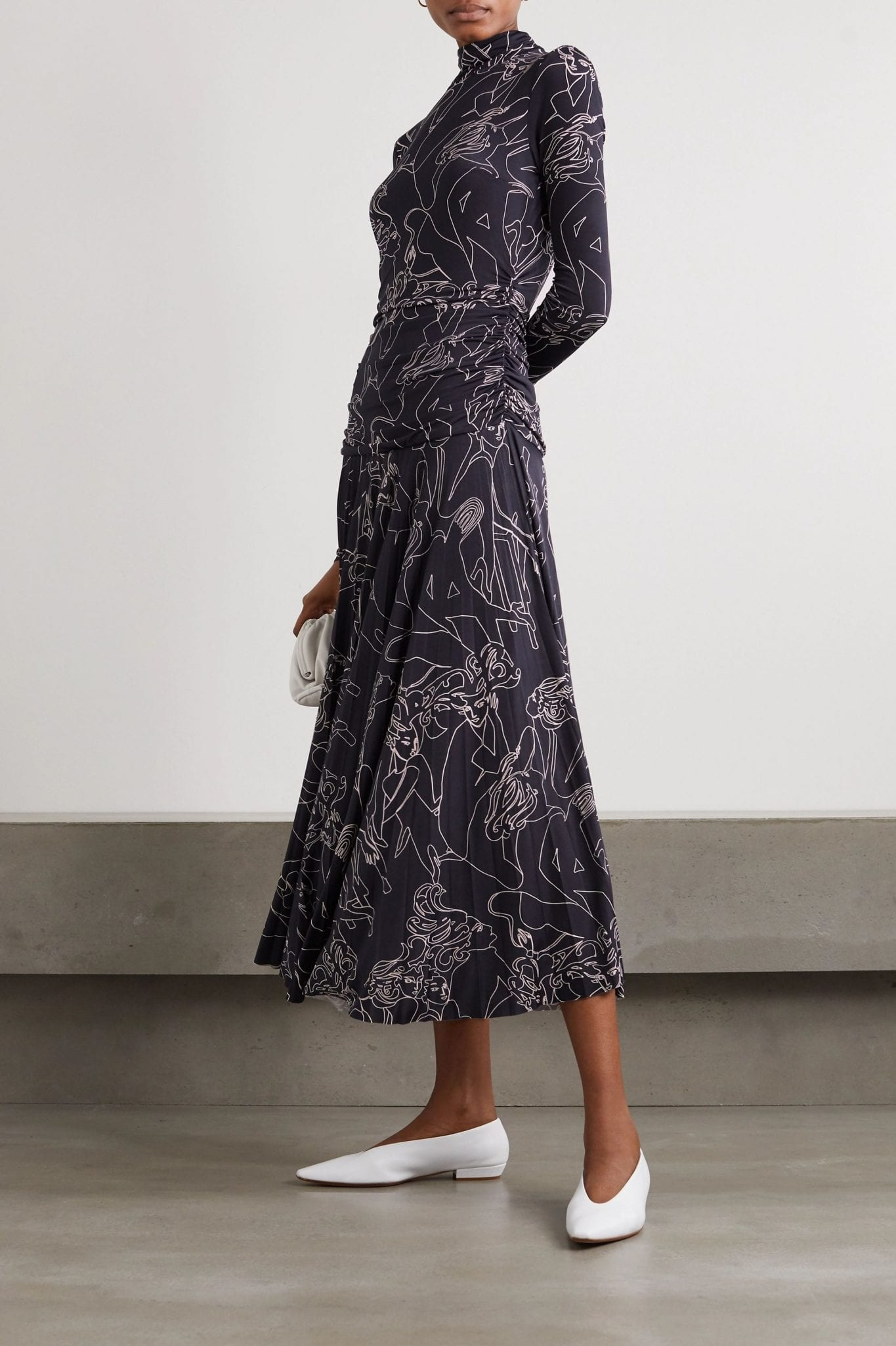 VICTORIA BECKHAM Pleated Printed Stretch-crepe Turtleneck Maxi Dress
