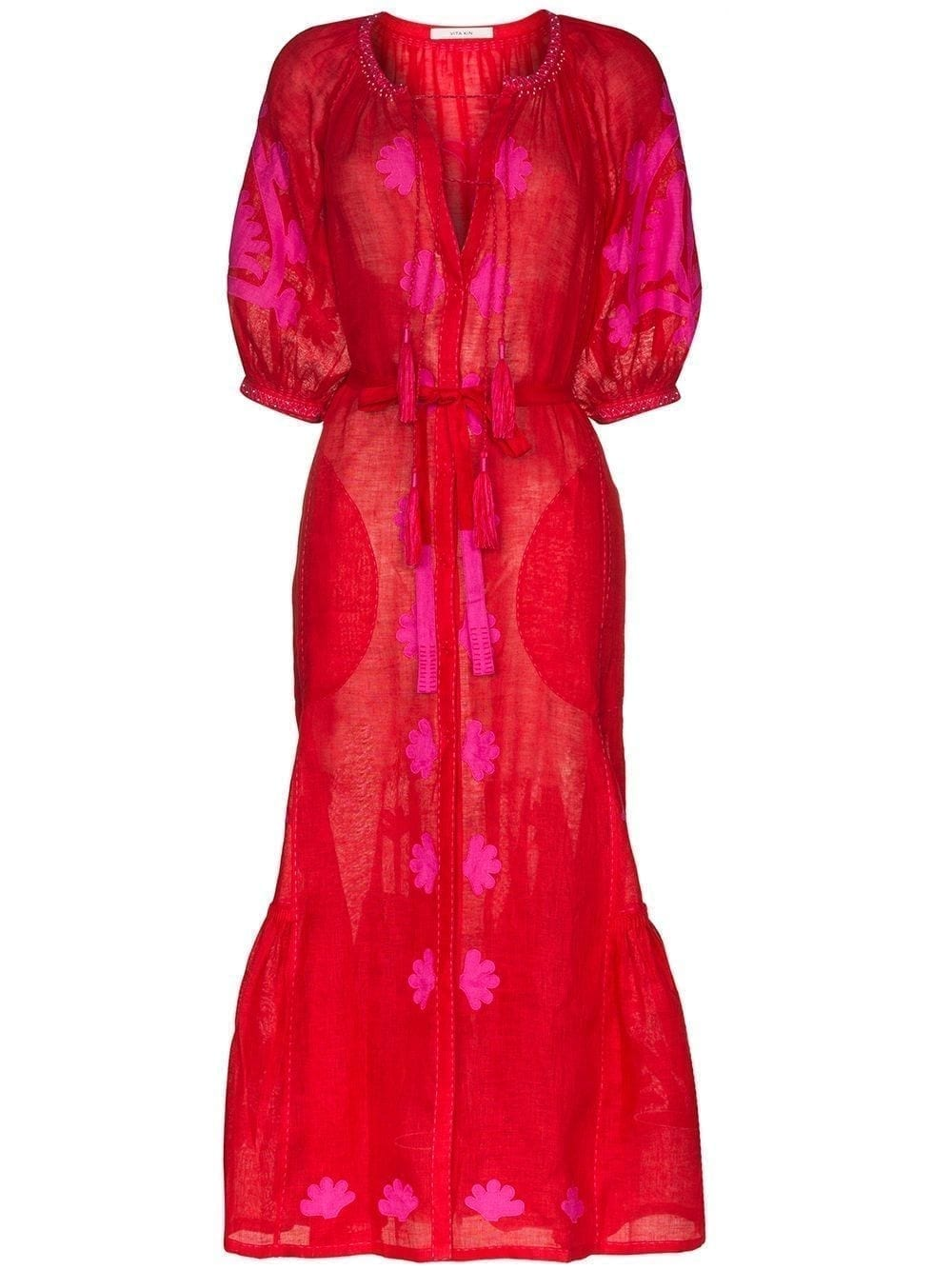 VITA KIN Red And Fuchsia Shalimar Belted Dress