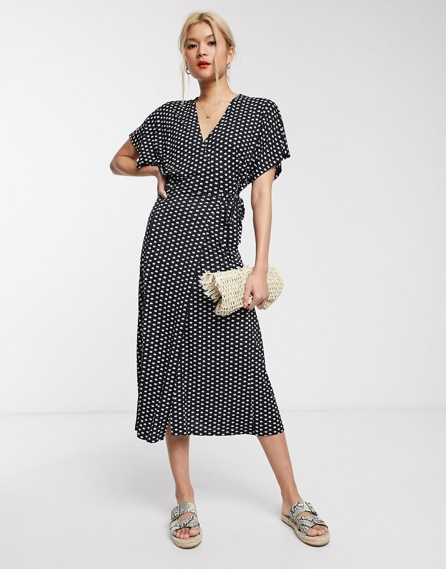 WHISTLES Exclusive Elephant Print Wrap Jersey Midi Dress