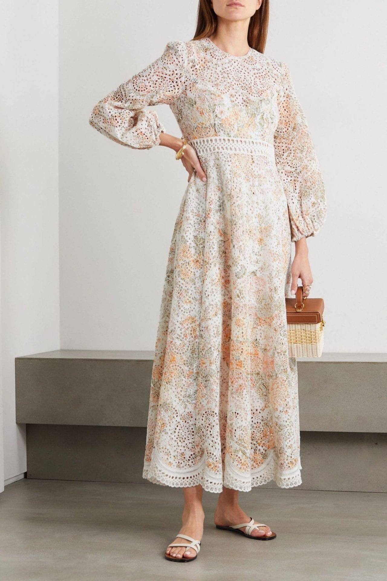 ZIMMERMANN Amelie Crochet-trimmed Broderie Anglaise Midi Dress