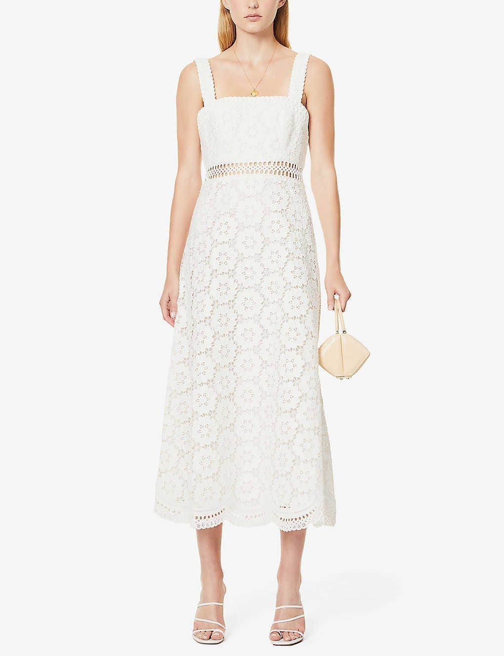 ZIMMERMANN Bells Floral-embroidered Linen And Cotton-blend Midi Dress