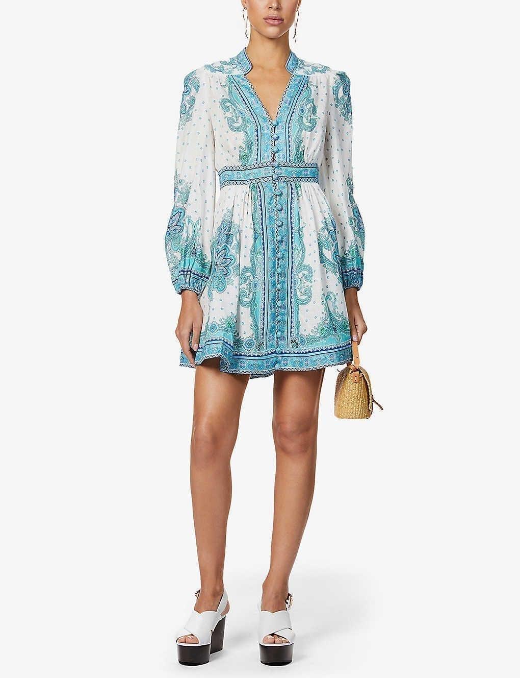 ZIMMERMANN Bells Paisley-print Linen Mini Dress