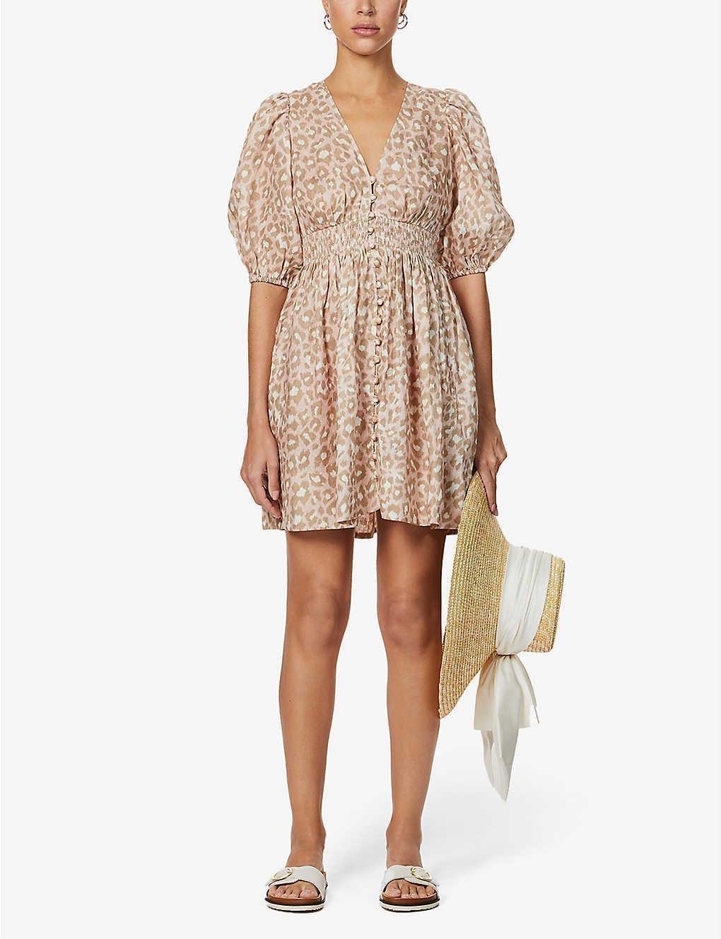 ZIMMERMANN Carnaby Leopard-print Linen Mini Dress
