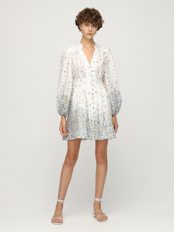 ZIMMERMANN Carnaby Scalloped Linen Mini Dress