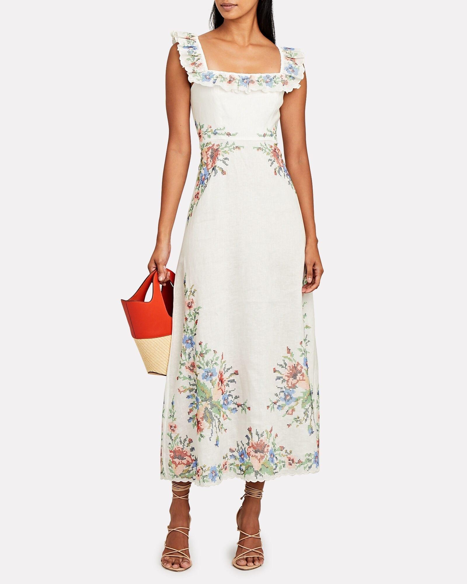 ZIMMERMANN Juliette Ruffled Floral Midi Dress