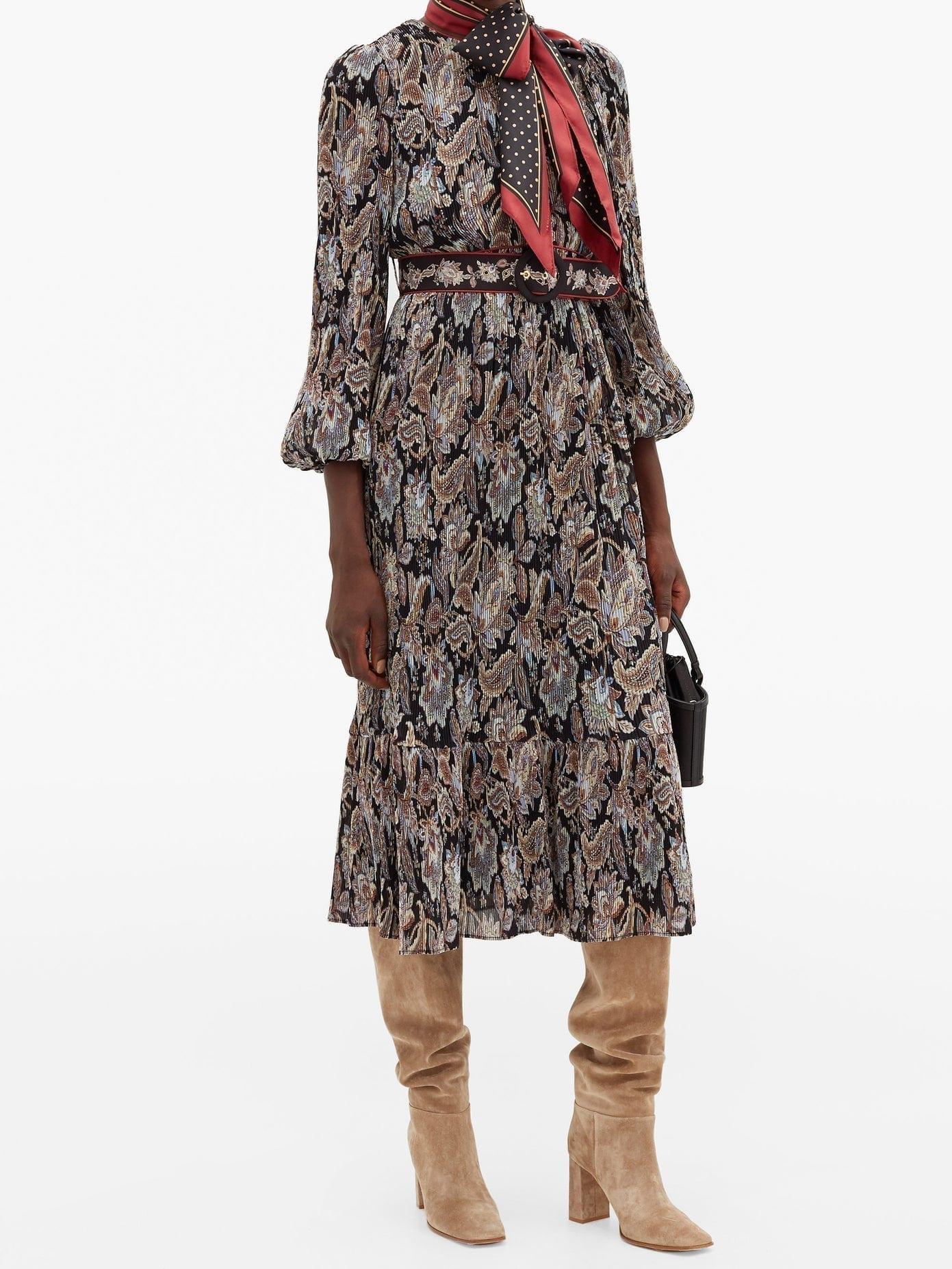 ZIMMERMANN Ladybeetle Pleated Floral-print Georgette Dress