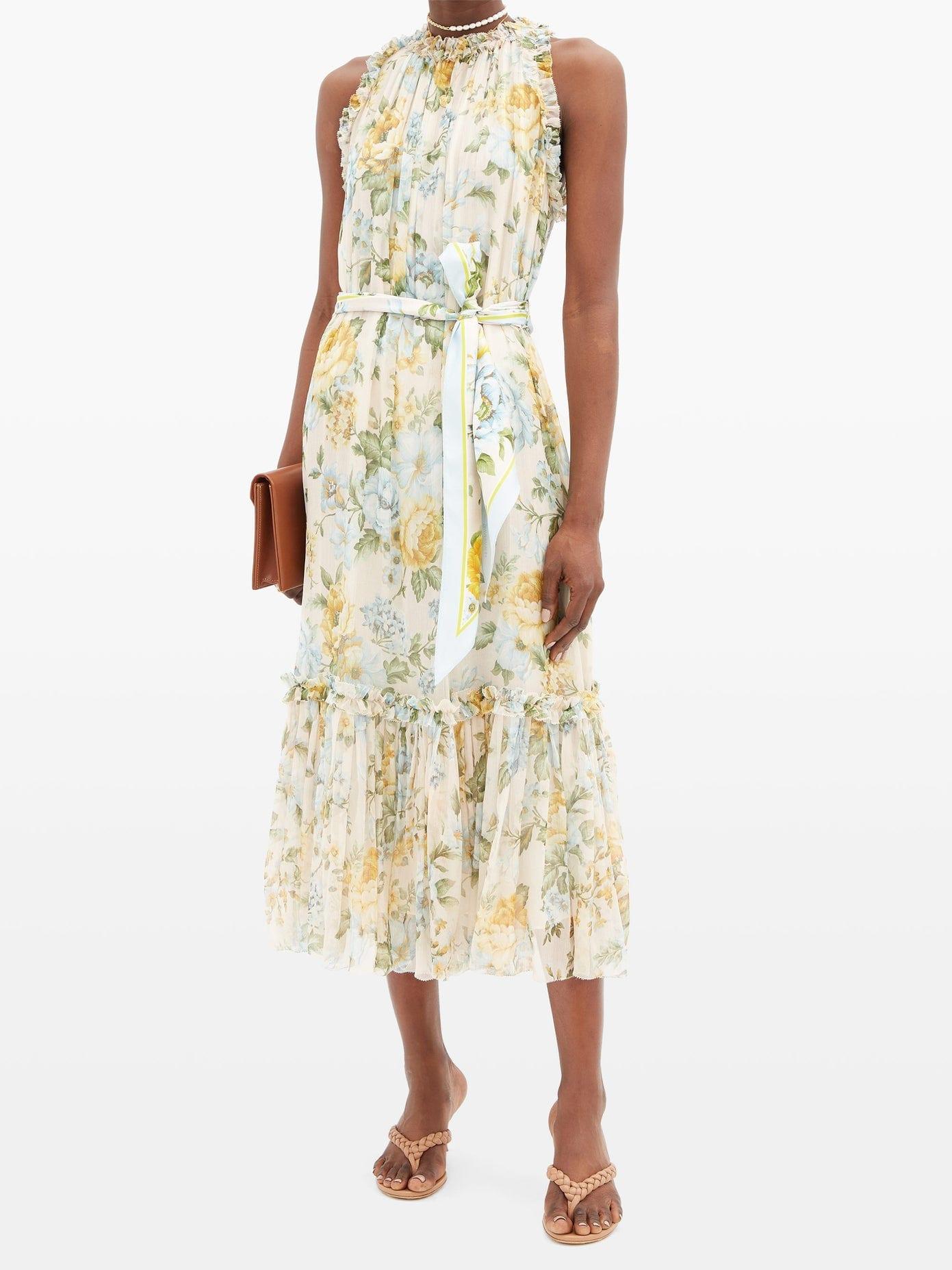 ZIMMERMANN Lucky Bound Floral-print Silk Midi Dress