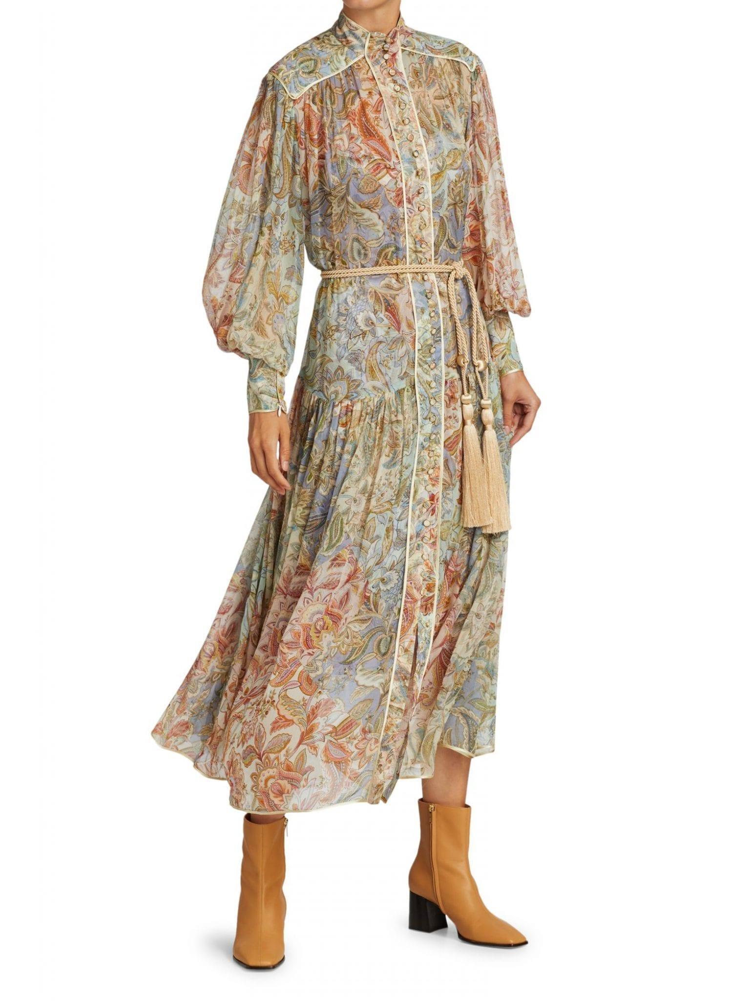 ZIMMERMANN Lucky Bound Puff-Sleeve Floral Silk Midi Dress