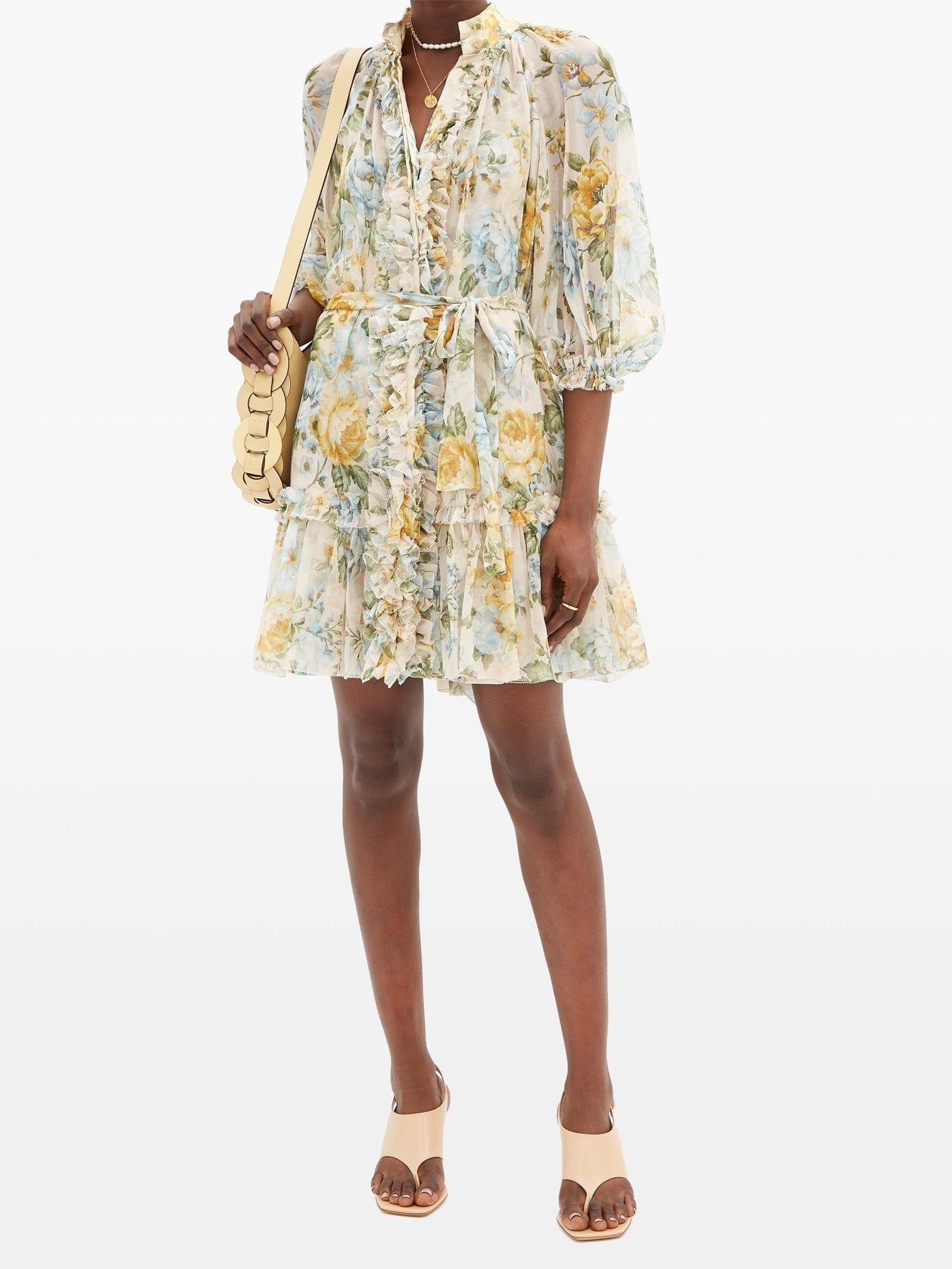 ZIMMERMANN Lucky Bound Scarf-tie Floral-print Silk Dress