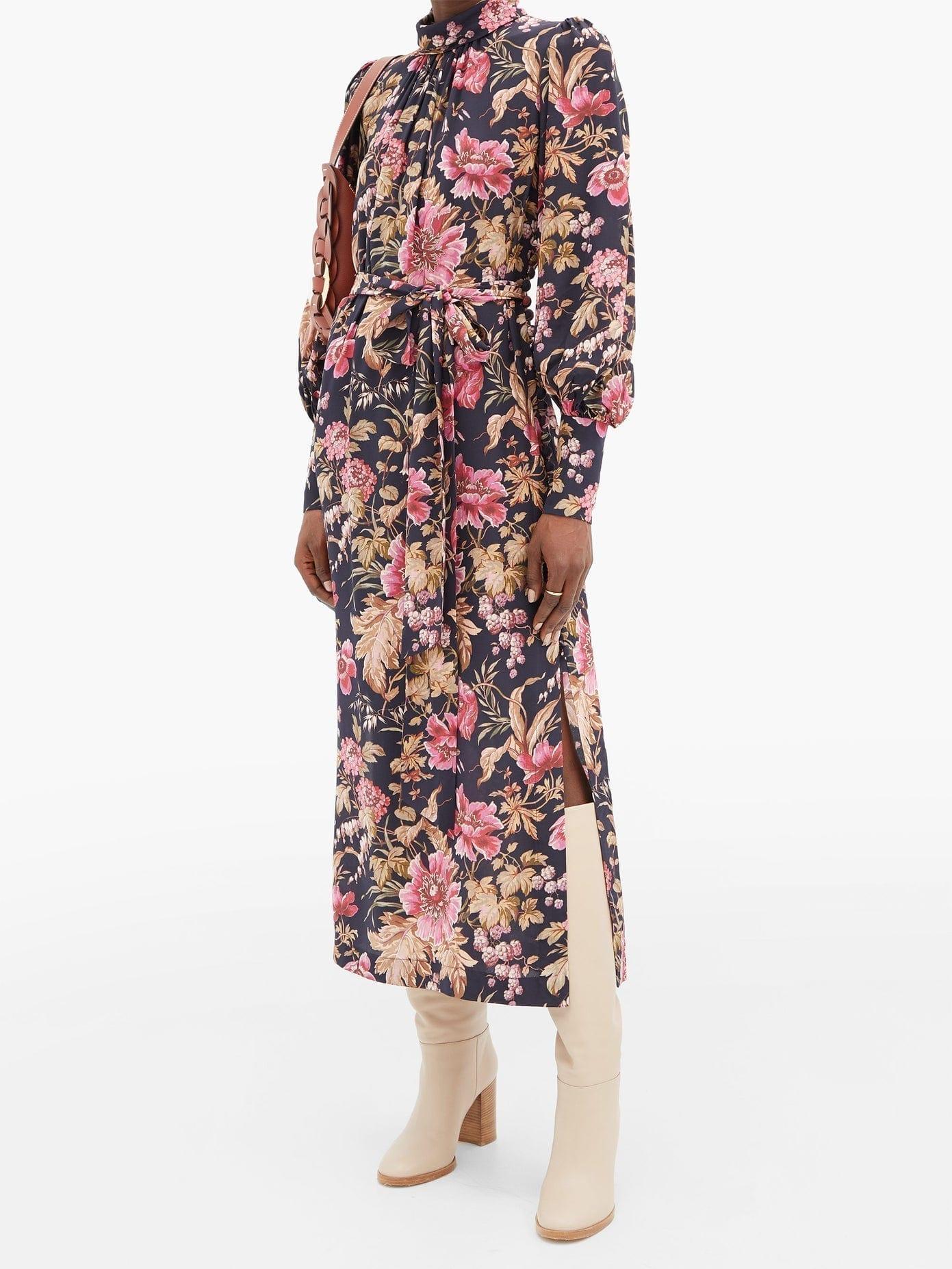ZIMMERMANN Lucky Floral-print Side-button Silk Dress