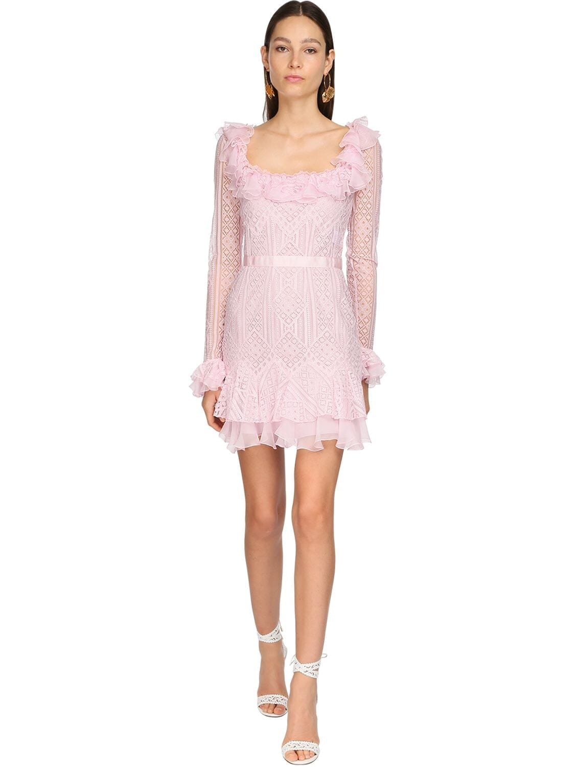 ZUHAIR MURAD Ruffled Lace Mini Dress