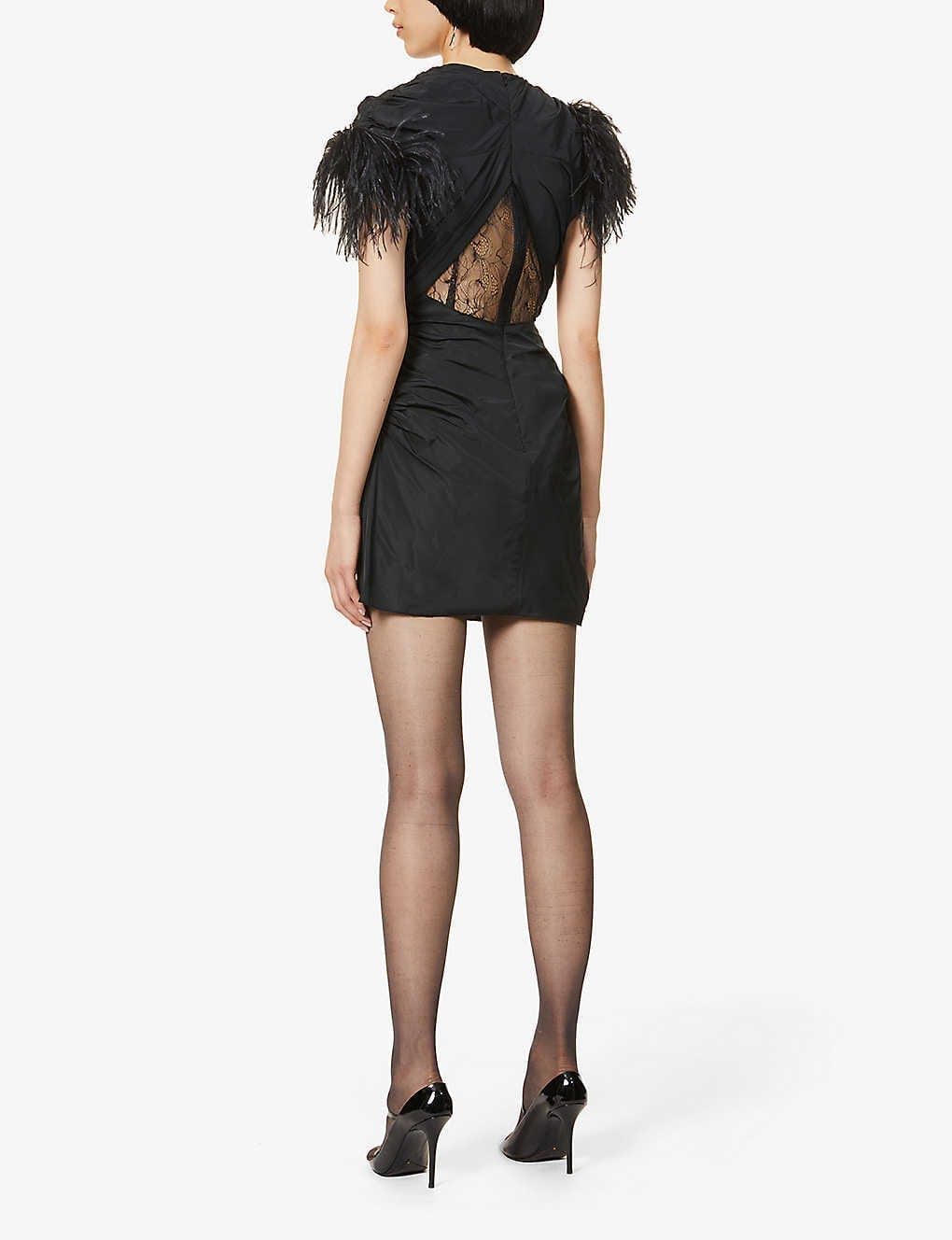 16 ARLINGTON Sumire Feather-trimmed Shell And Lace Mini Dress