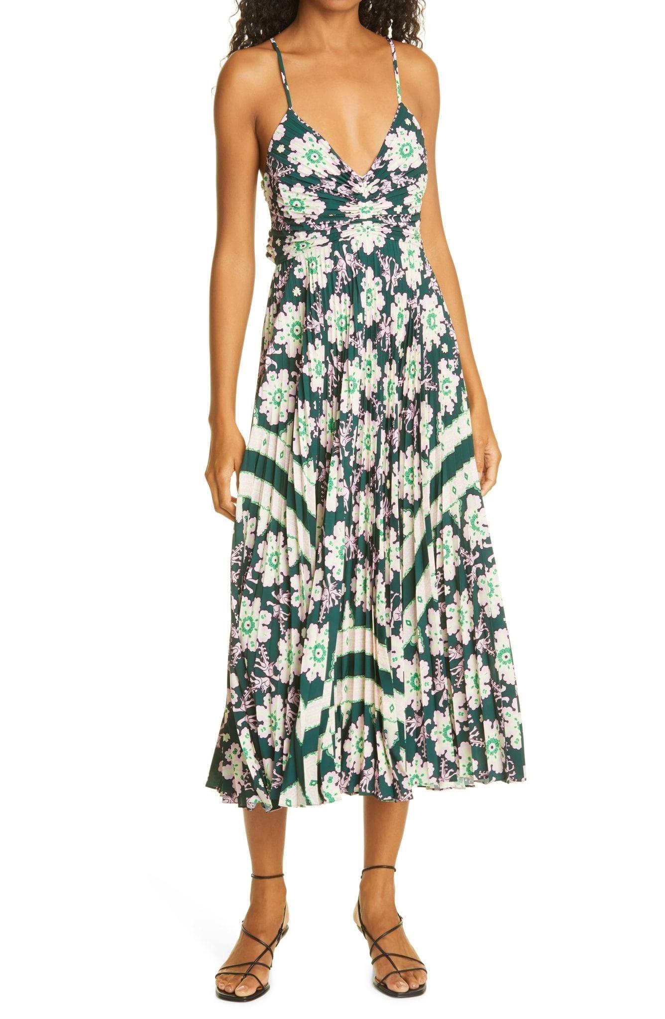 A.L.C. Gemini Print Pleated Dress