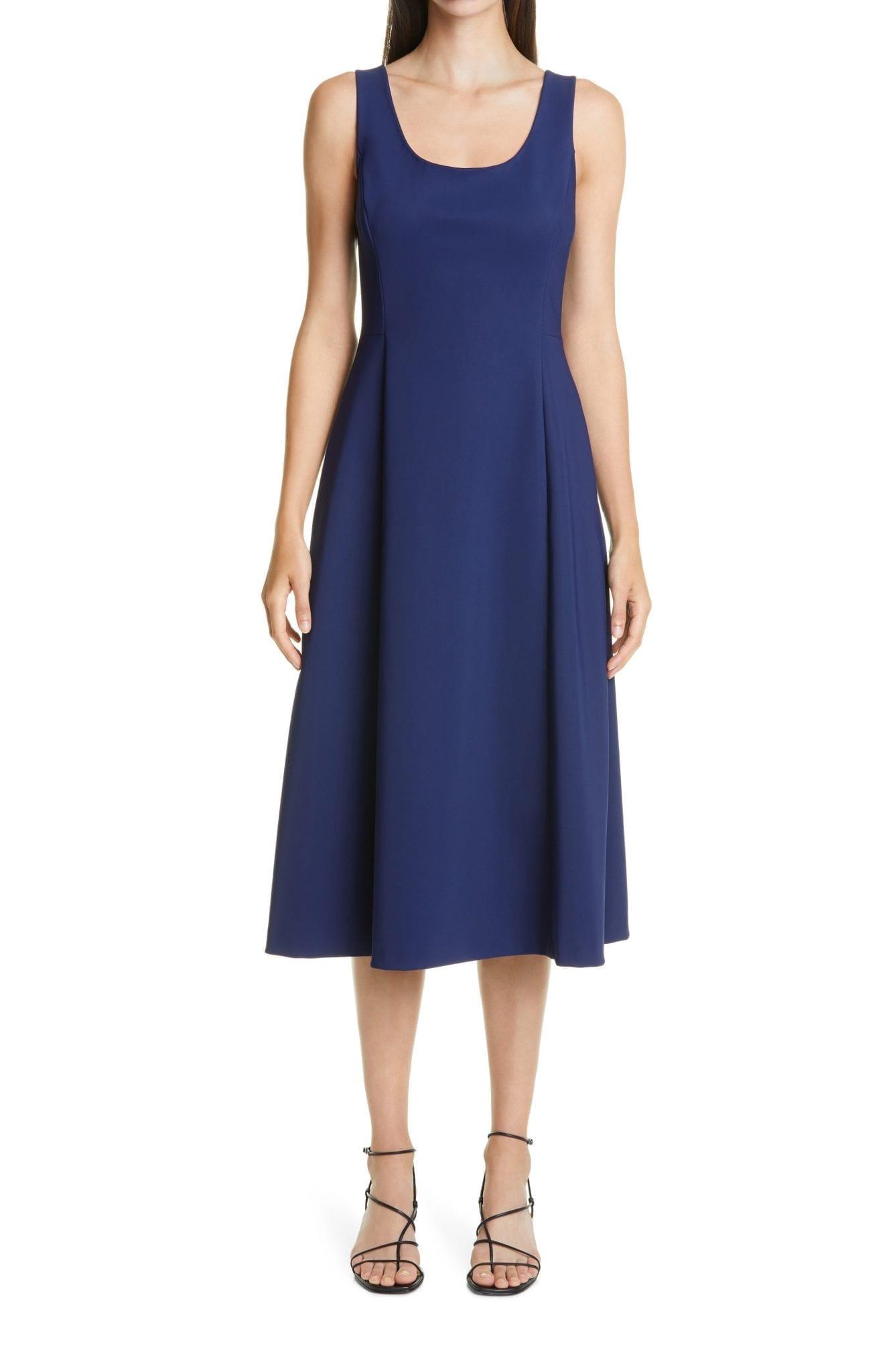 ADAM LIPPES Bonded Neopene Fit & Flare Midi Dress