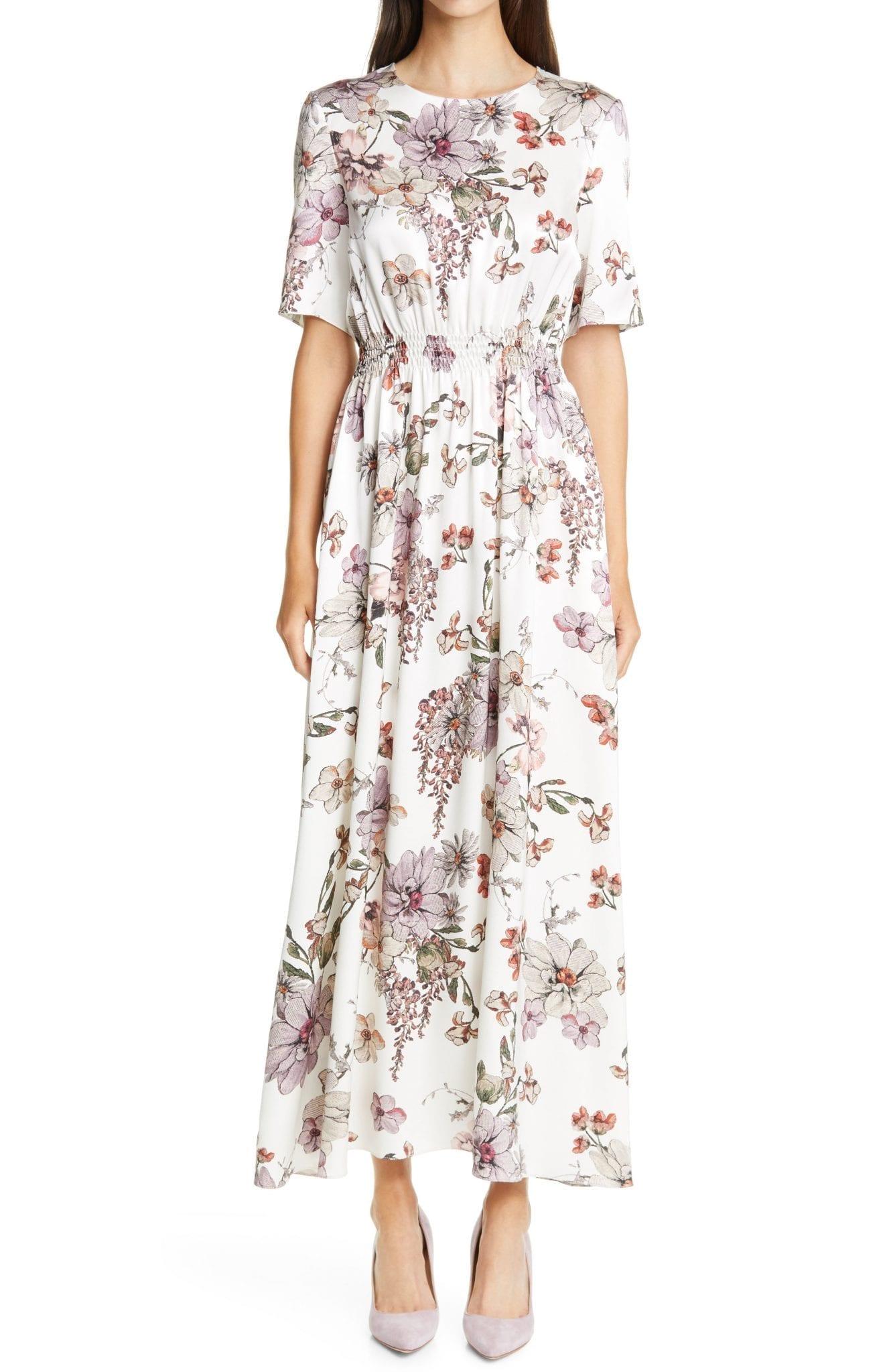 ADAM LIPPES Floral Print Smocked Waist Maxi Dress