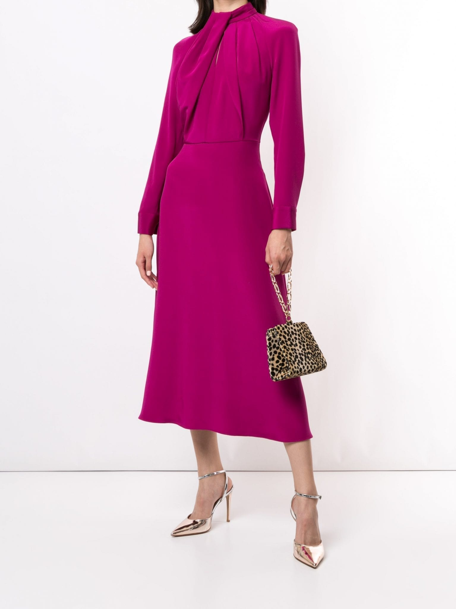 ADAM LIPPES Long Sleeve Neck Twist Silk Crepe Dress