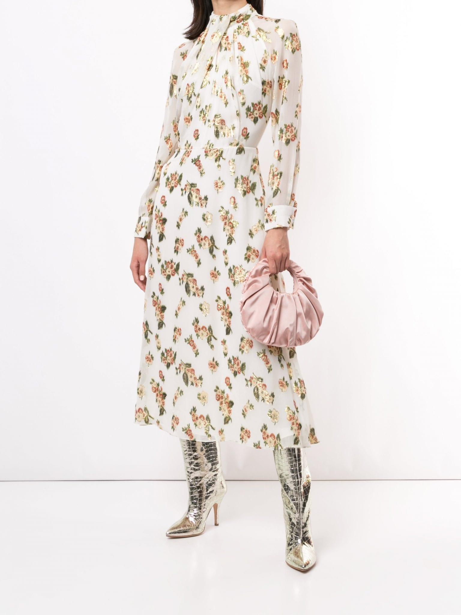 ADAM LIPPES Neck Twist Coupe Silk Long Sleeve Dress